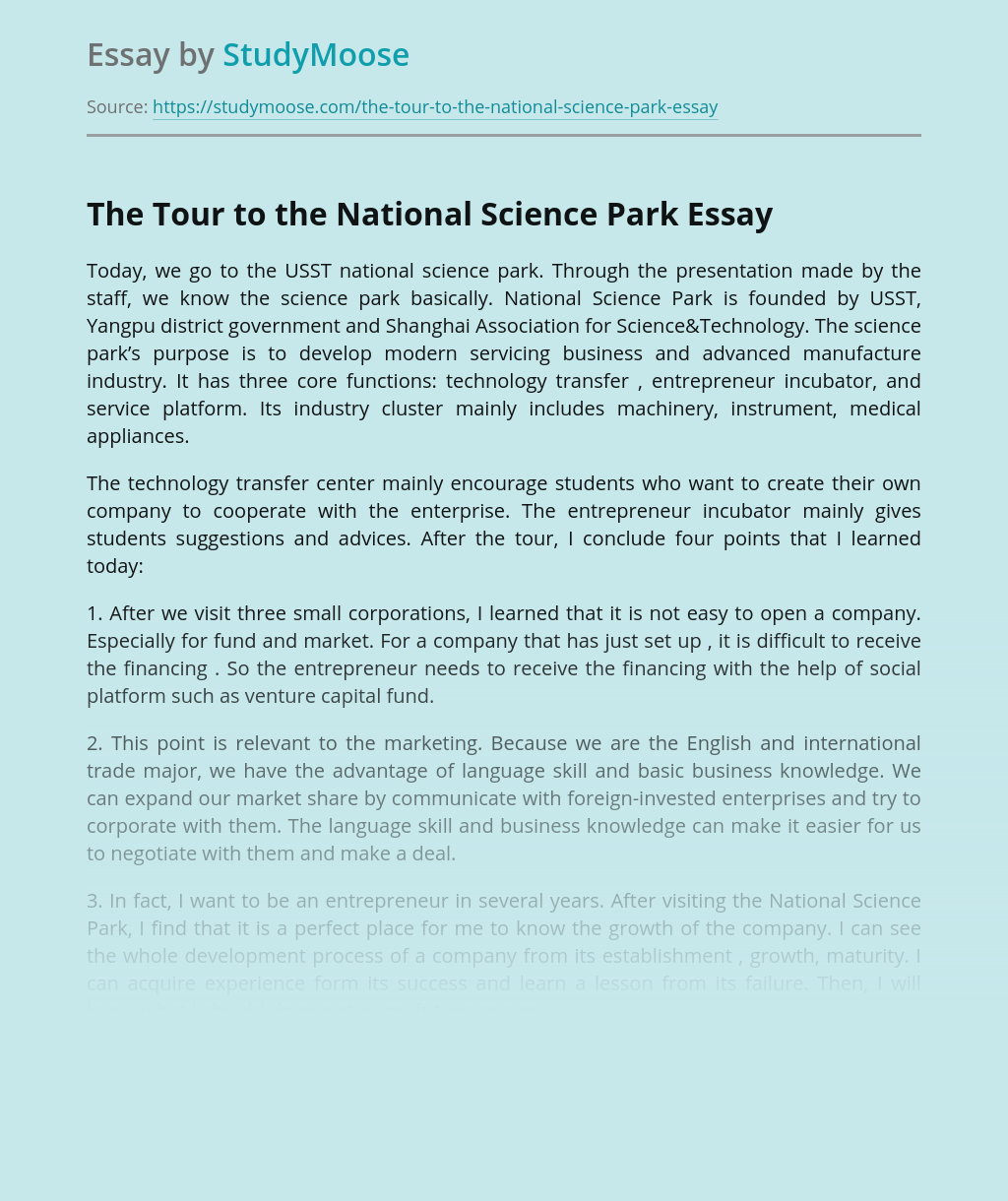 The Tour to the National Science Park