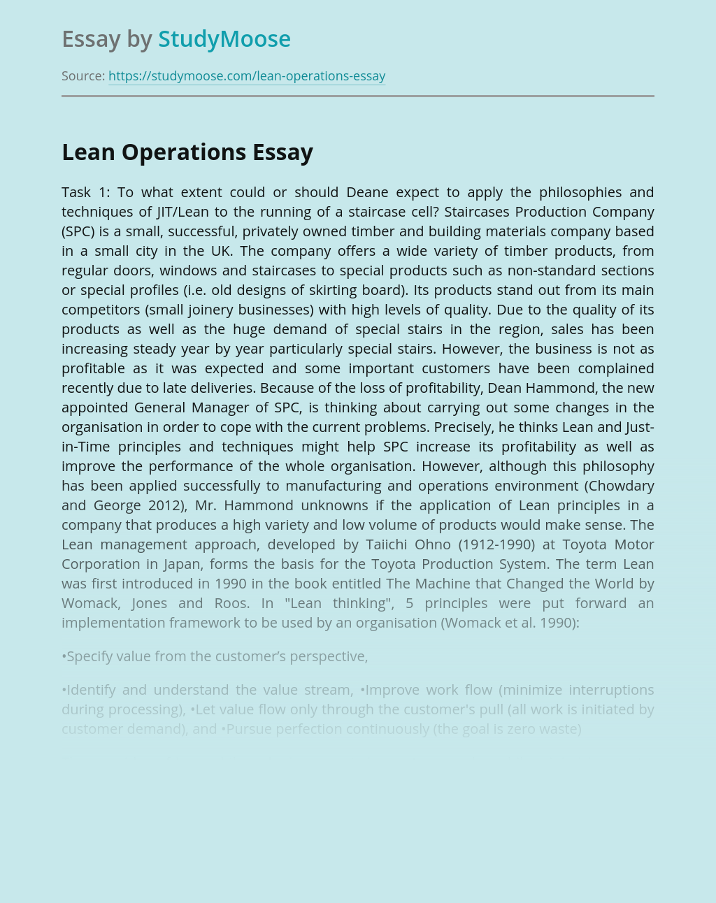 Improvement of Lean Operations in Manufacturing