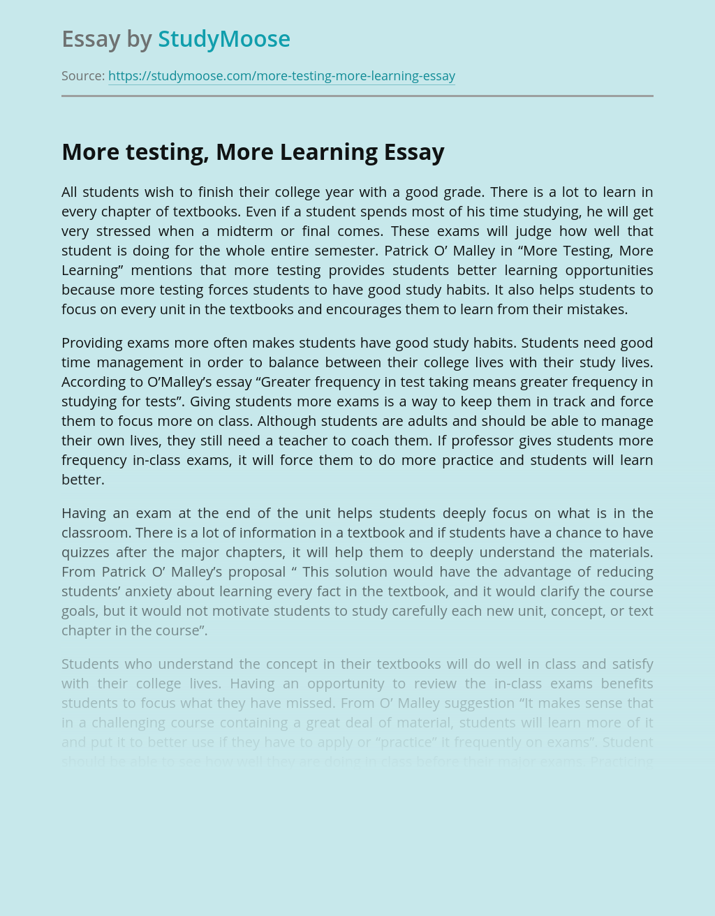 More testing, More Learning