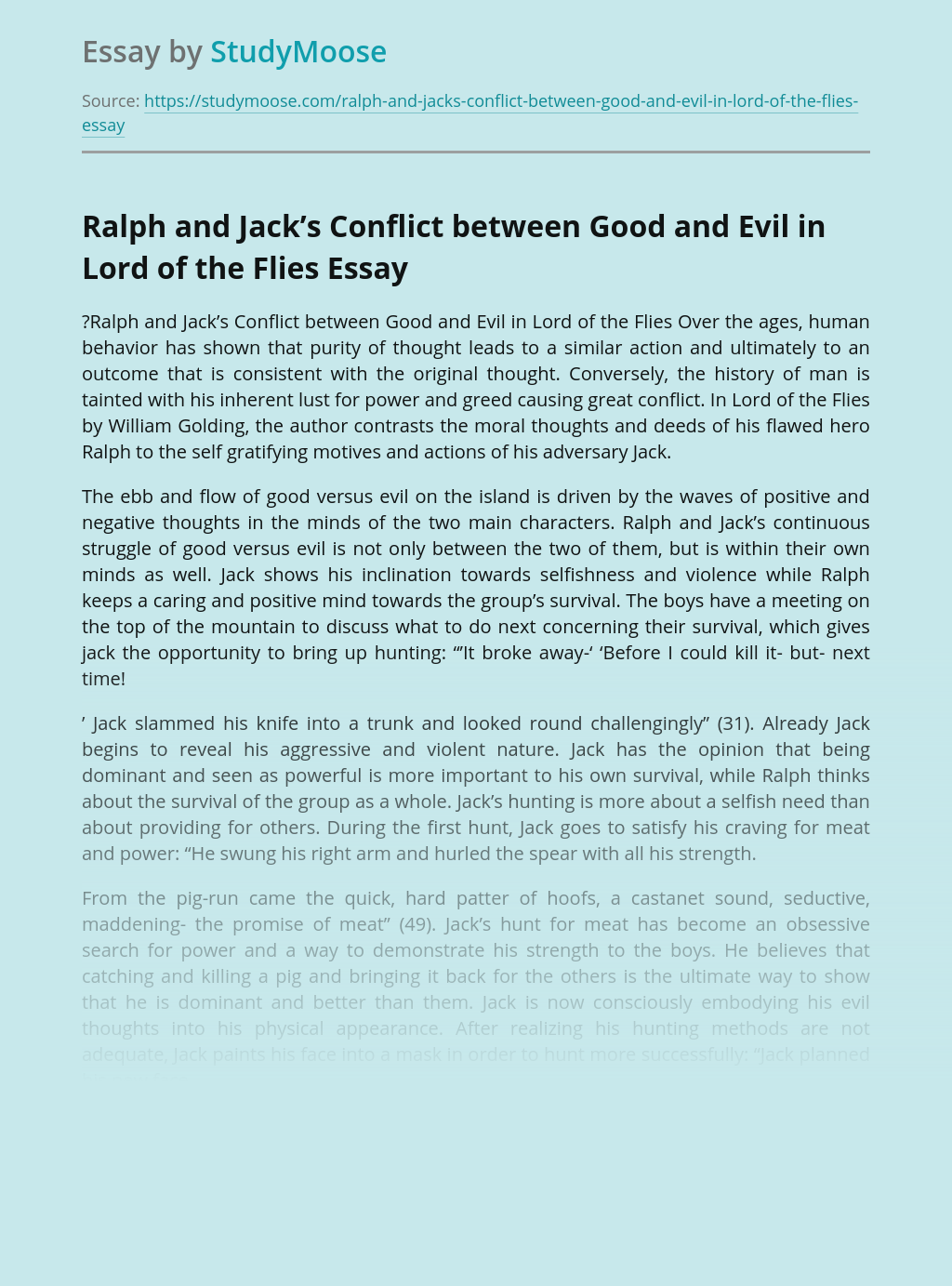 Ralph and Jack's Conflict between Good and Evil in Lord of the Flies