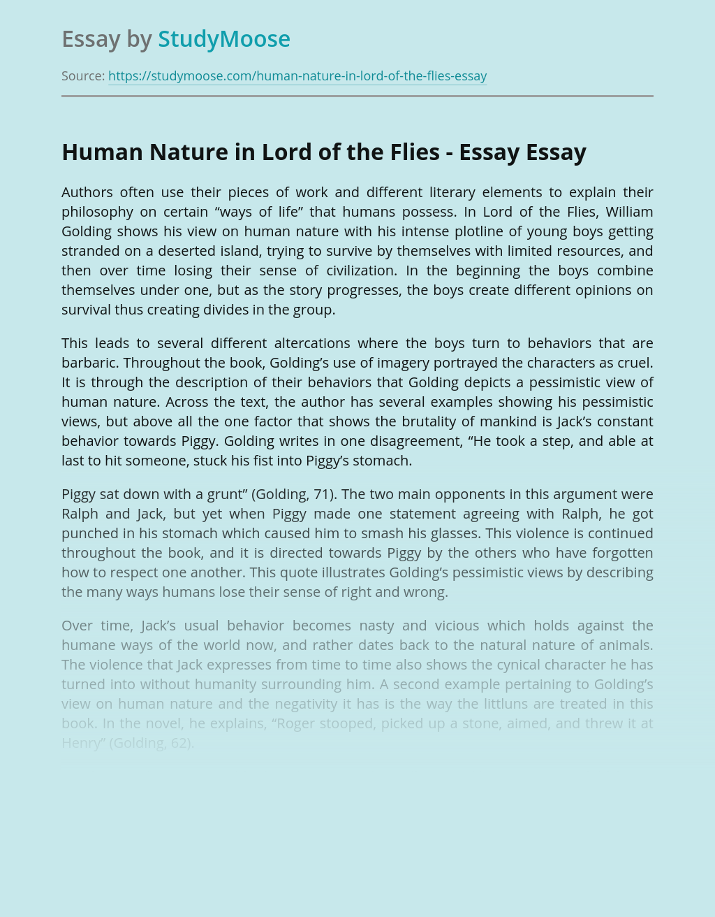 Human Nature in Lord of the Flies - Essay