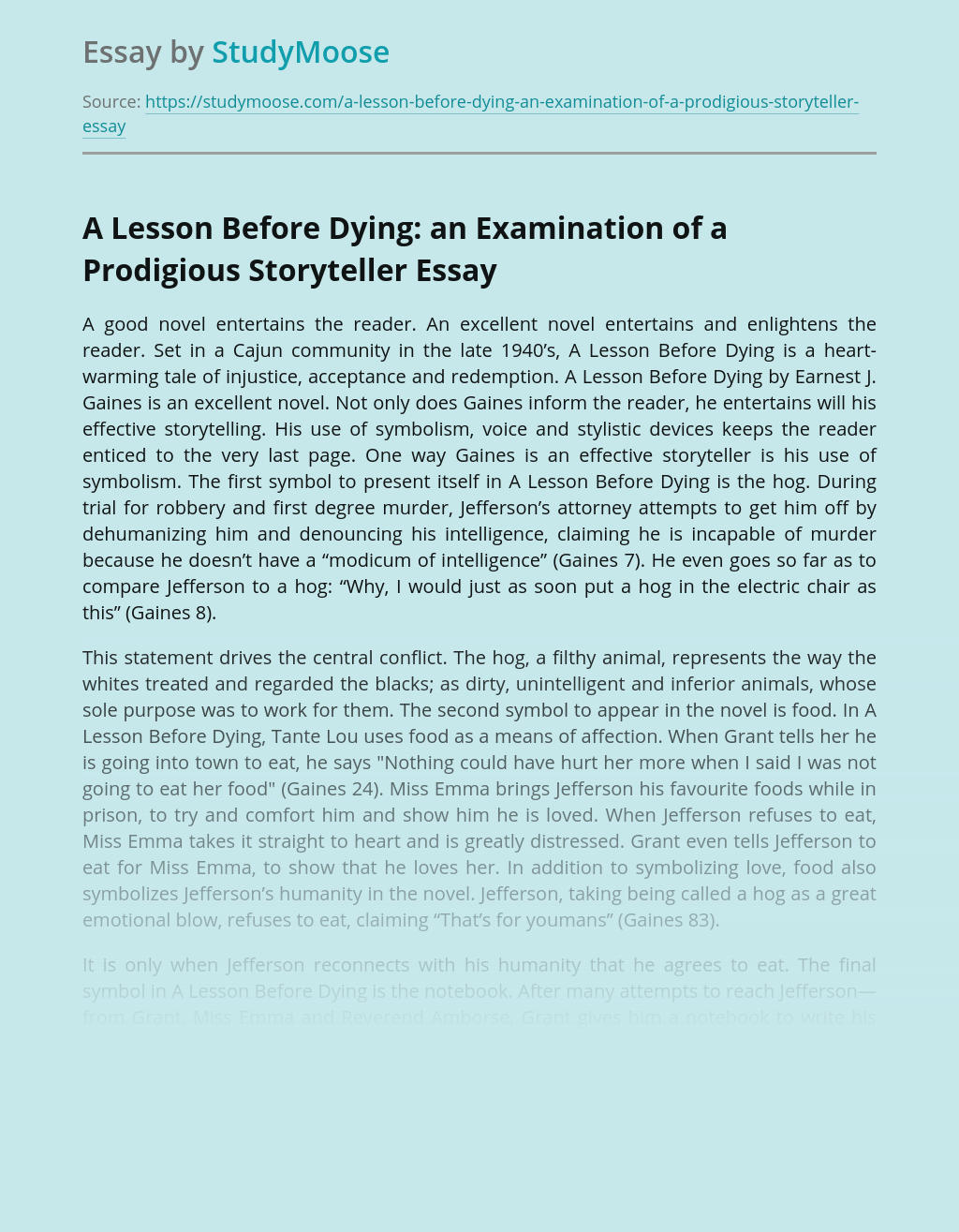 A Lesson Before Dying: an Examination of a Prodigious Storyteller