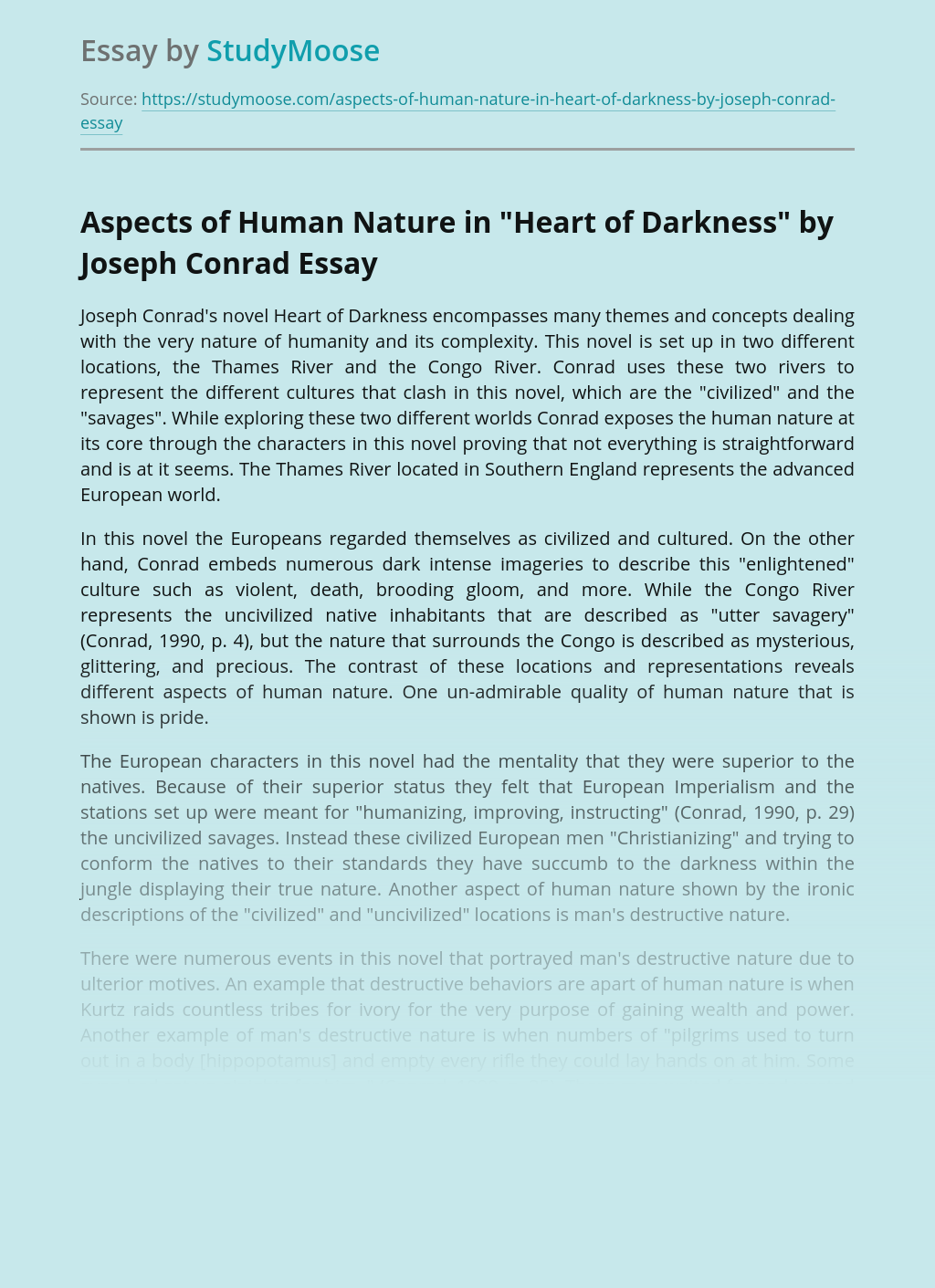 """Aspects of Human Nature in """"Heart of Darkness"""" by Joseph Conrad"""