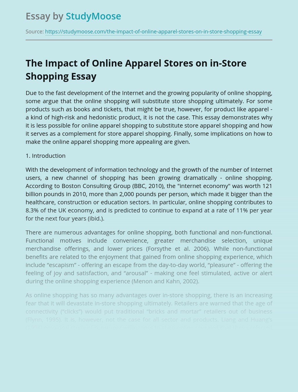 The Impact of Online Apparel Stores on in-Store Shopping
