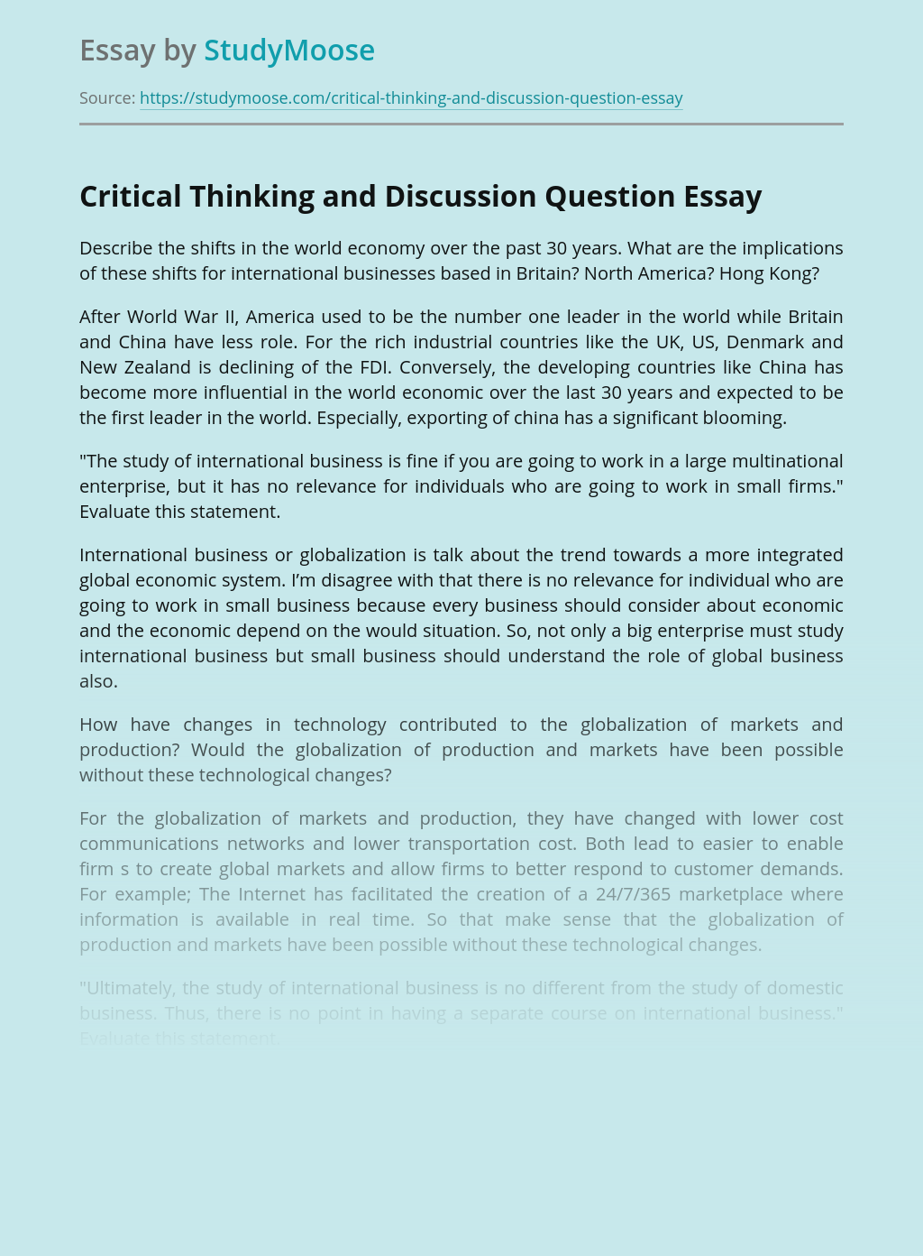 Critical Thinking and Discussion Question
