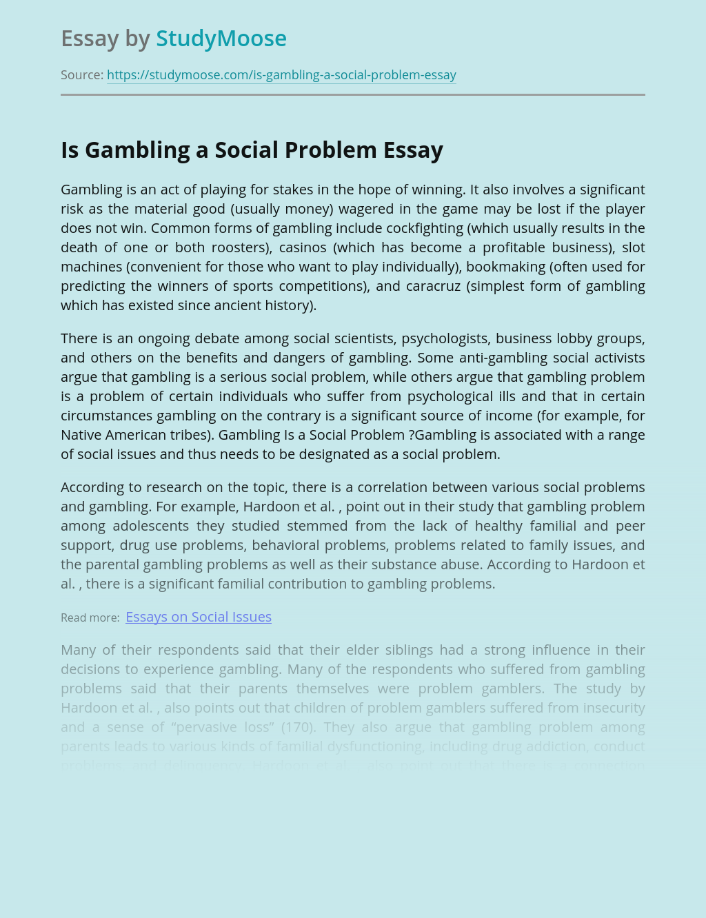Is Gambling a Social Problem
