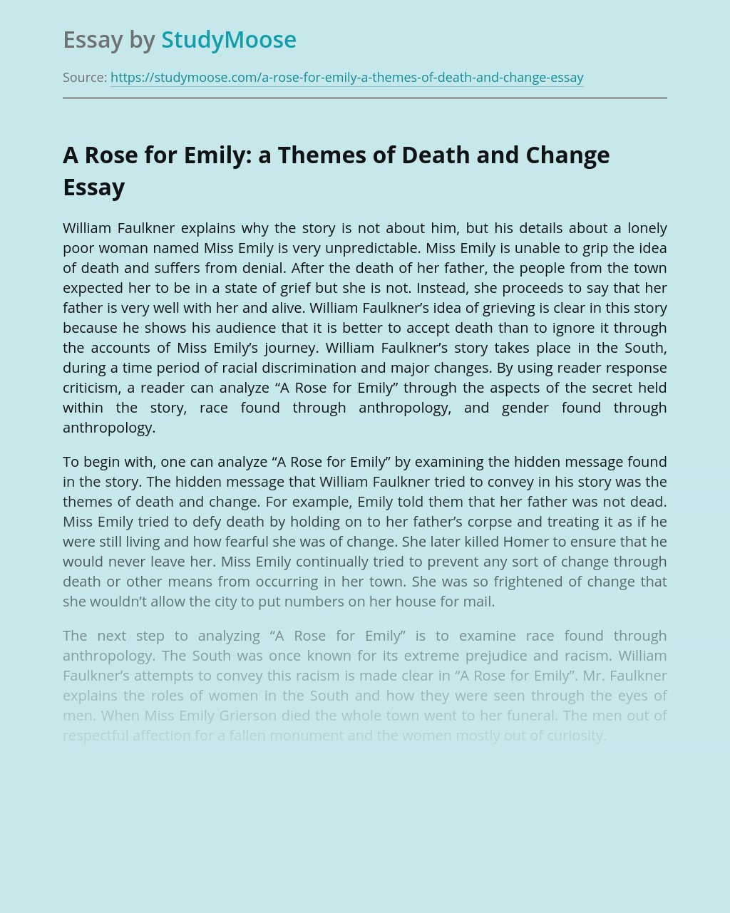 A Rose for Emily: a Themes of Death and Change