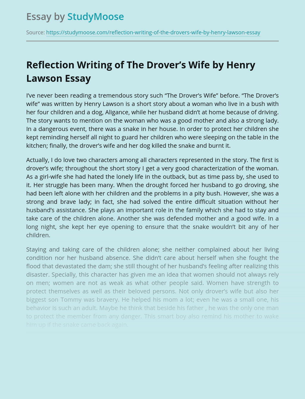 Reflection Writing of The Drover's Wife by Henry Lawson
