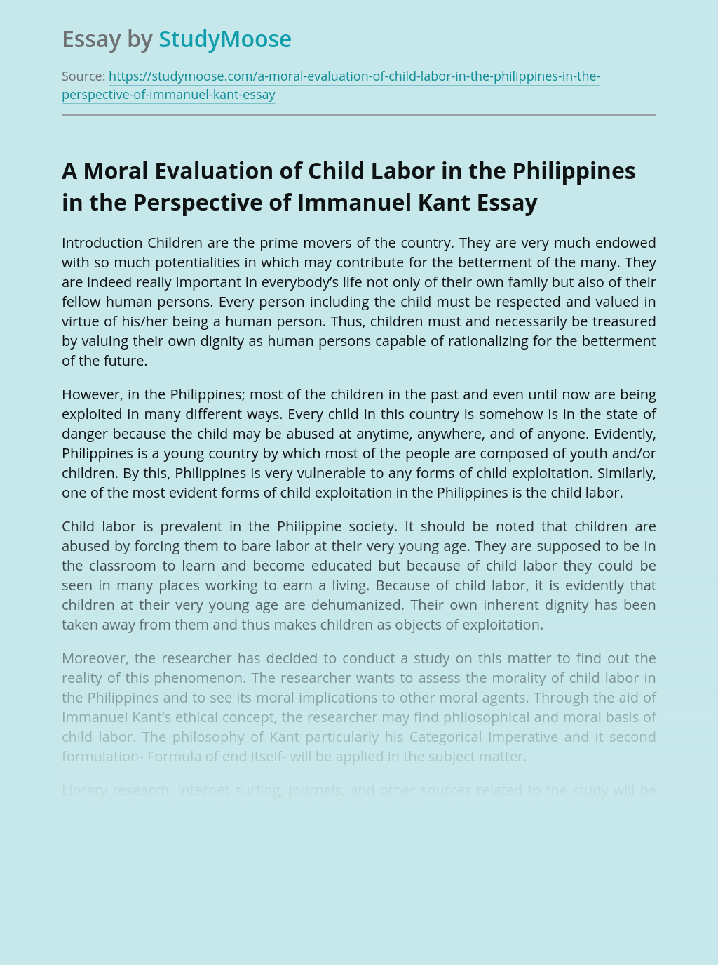 A Moral Evaluation of Child Labor in the Philippines in the Perspective of Immanuel Kant
