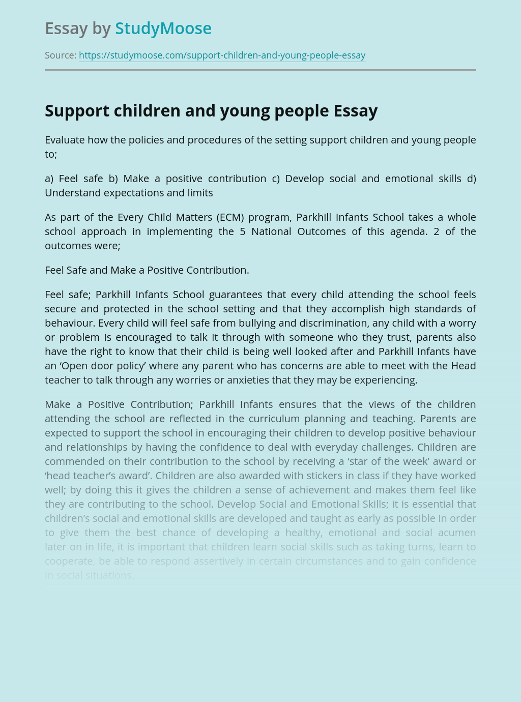 Support children and young people