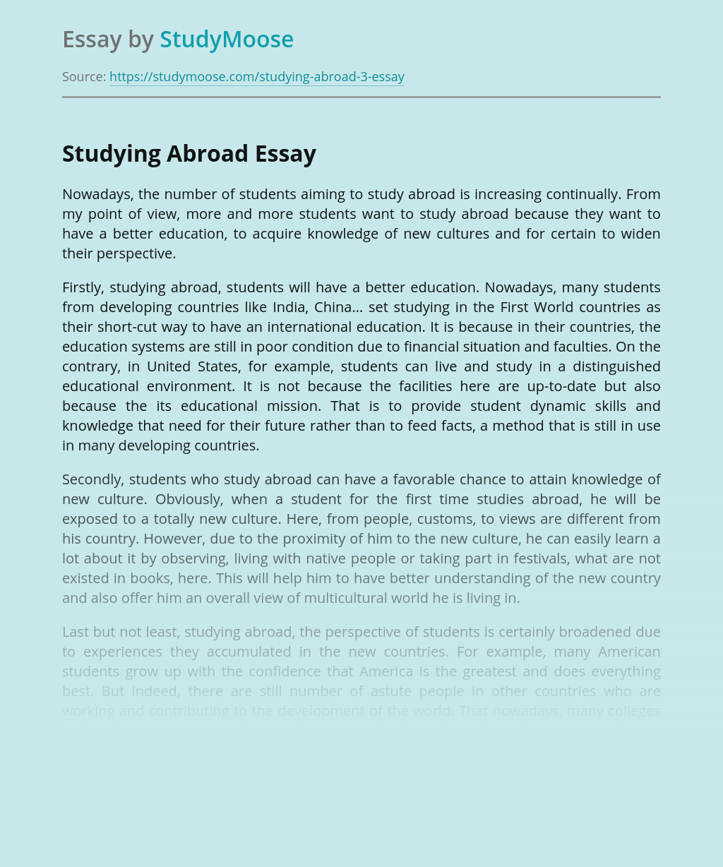 Studying Abroad: Perspectives for Students