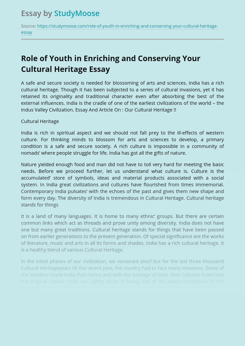 Role of Youth in Enriching and Conserving Your Cultural Heritage