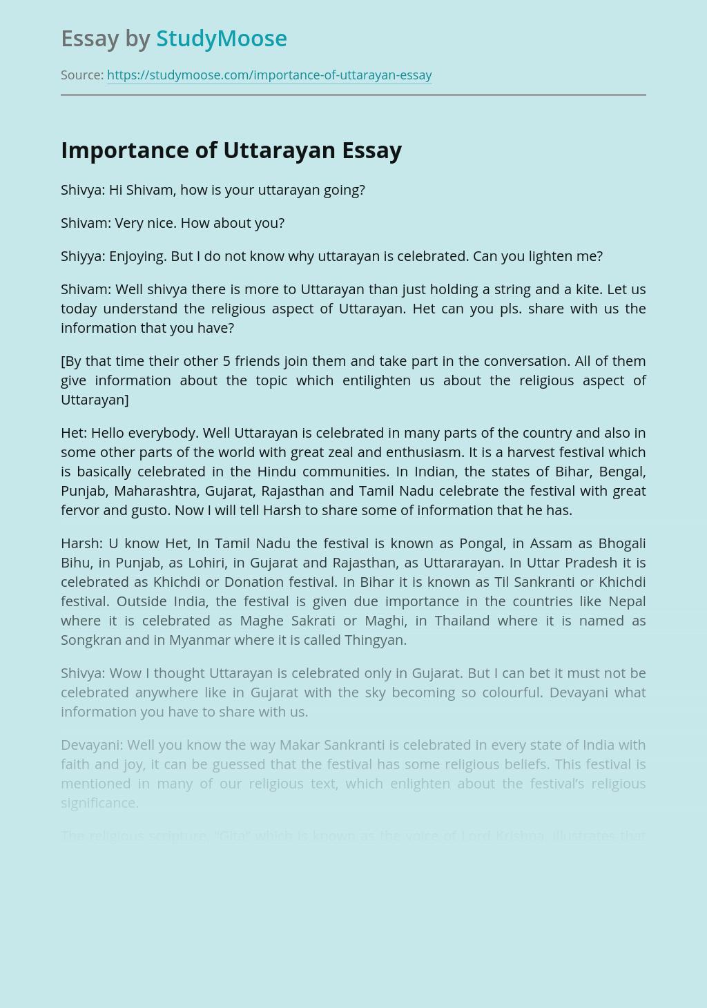 Rhetoric Dialogue on Importance of Uttarayan