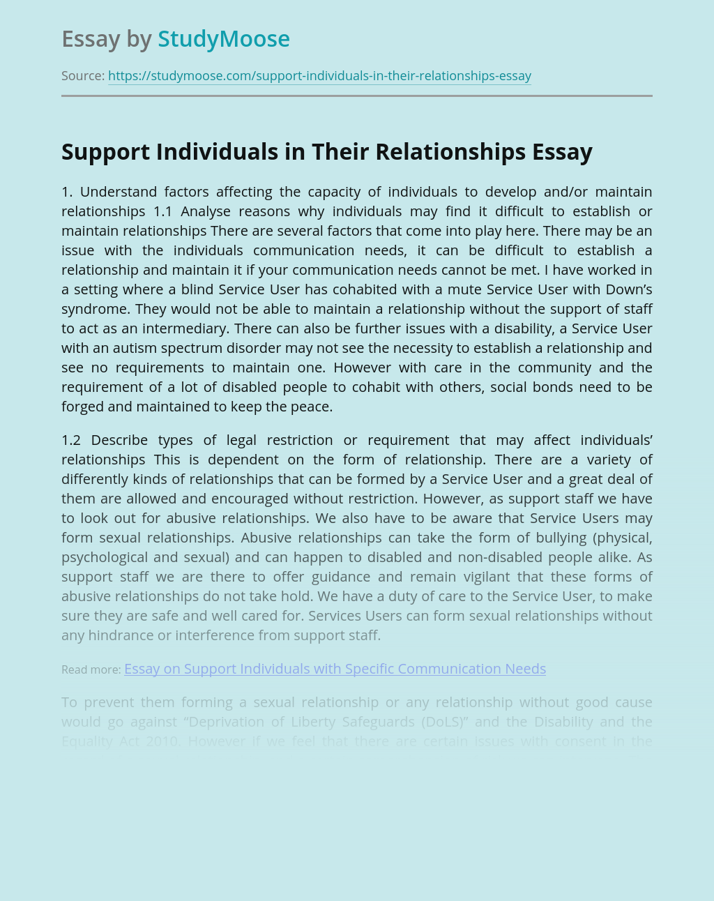 Support Individuals in Their Relationships