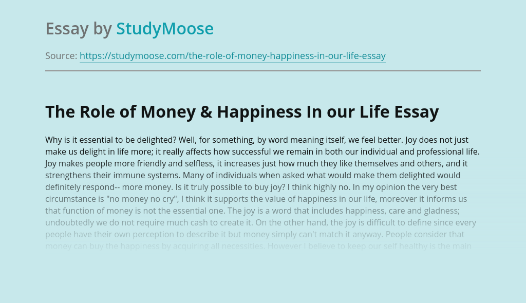 The Role of Money & Happiness In our Life