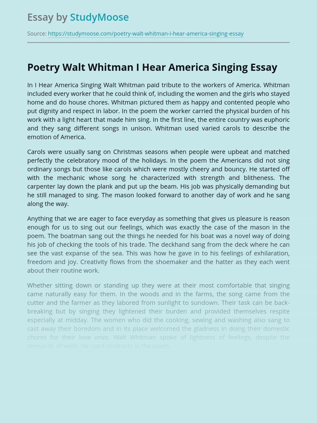 Poetry Walt Whitman I Hear America Singing