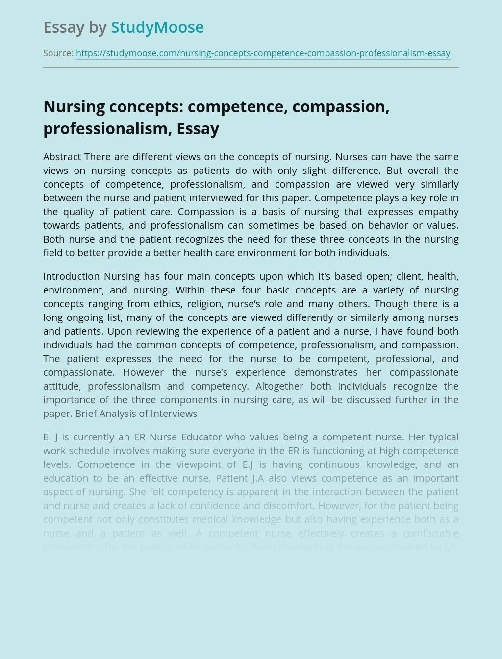 Nursing concepts: competence, compassion, professionalism,