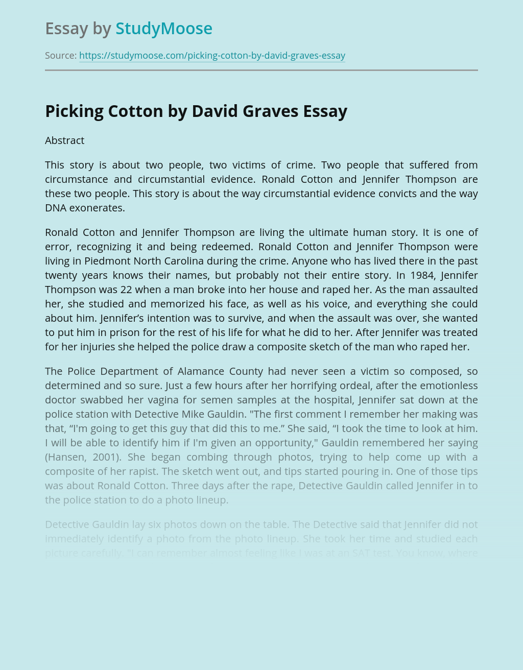 Picking Cotton by David Graves