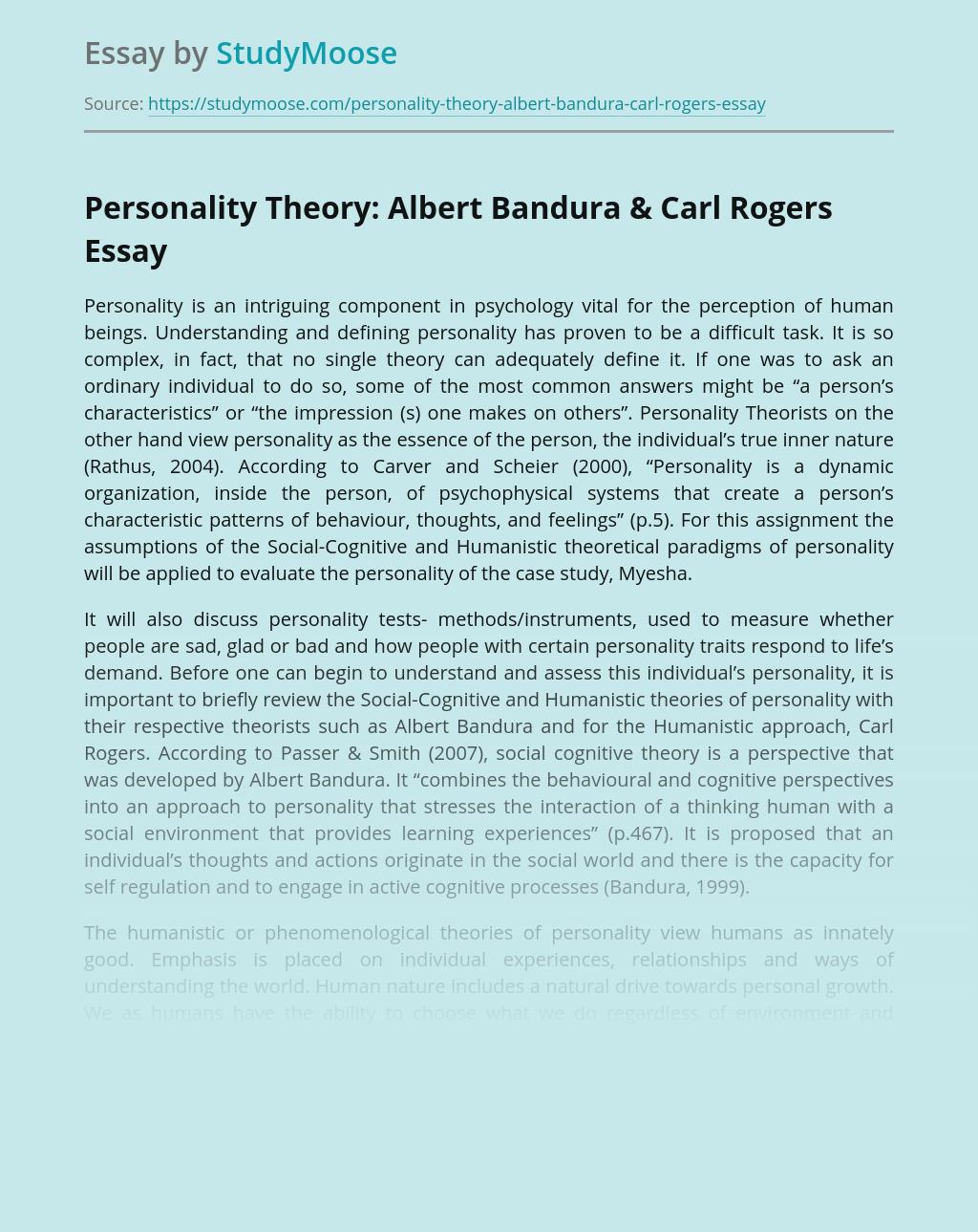 Personality Theory: Albert Bandura & Carl Rogers