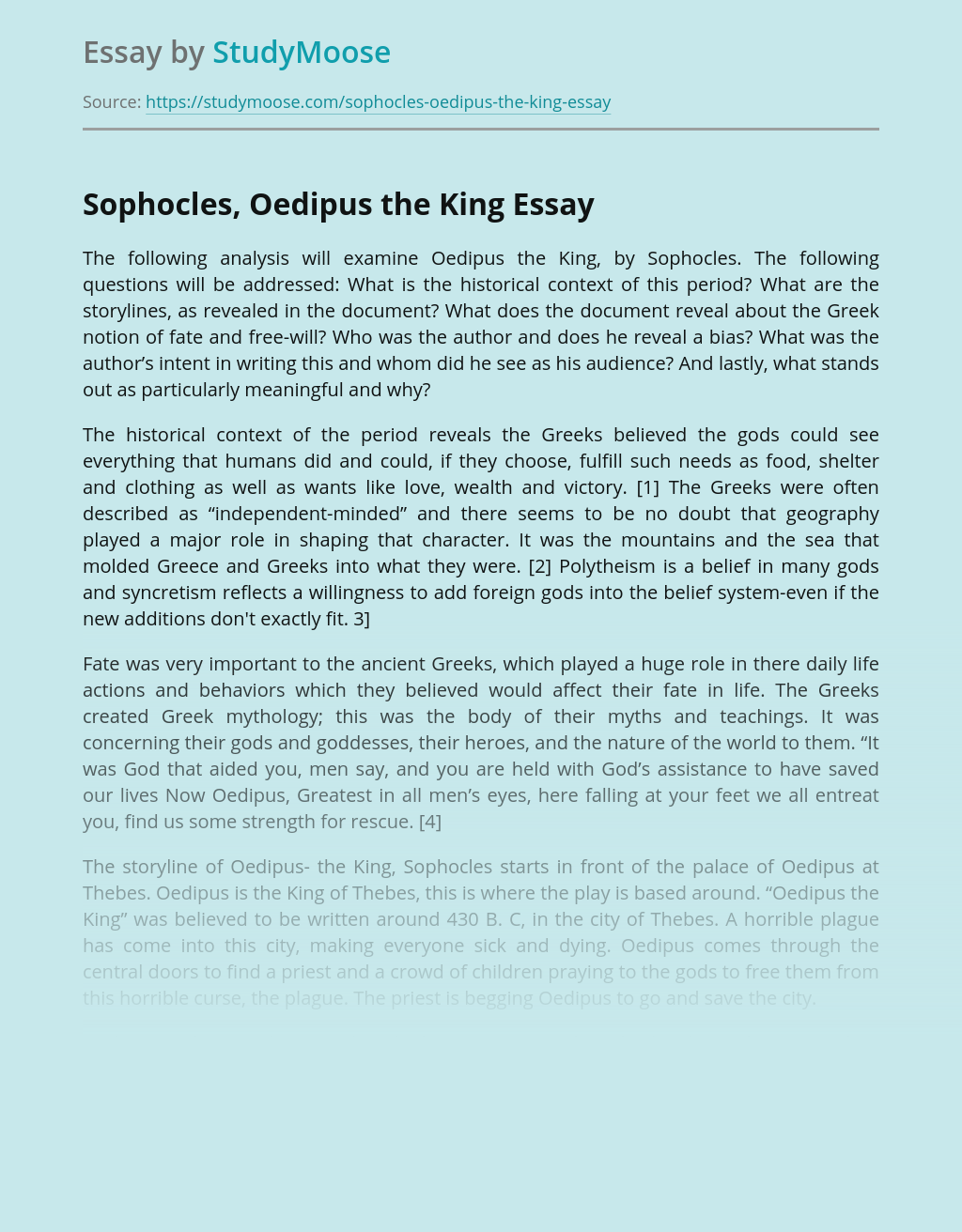 Sophocles, Oedipus the King