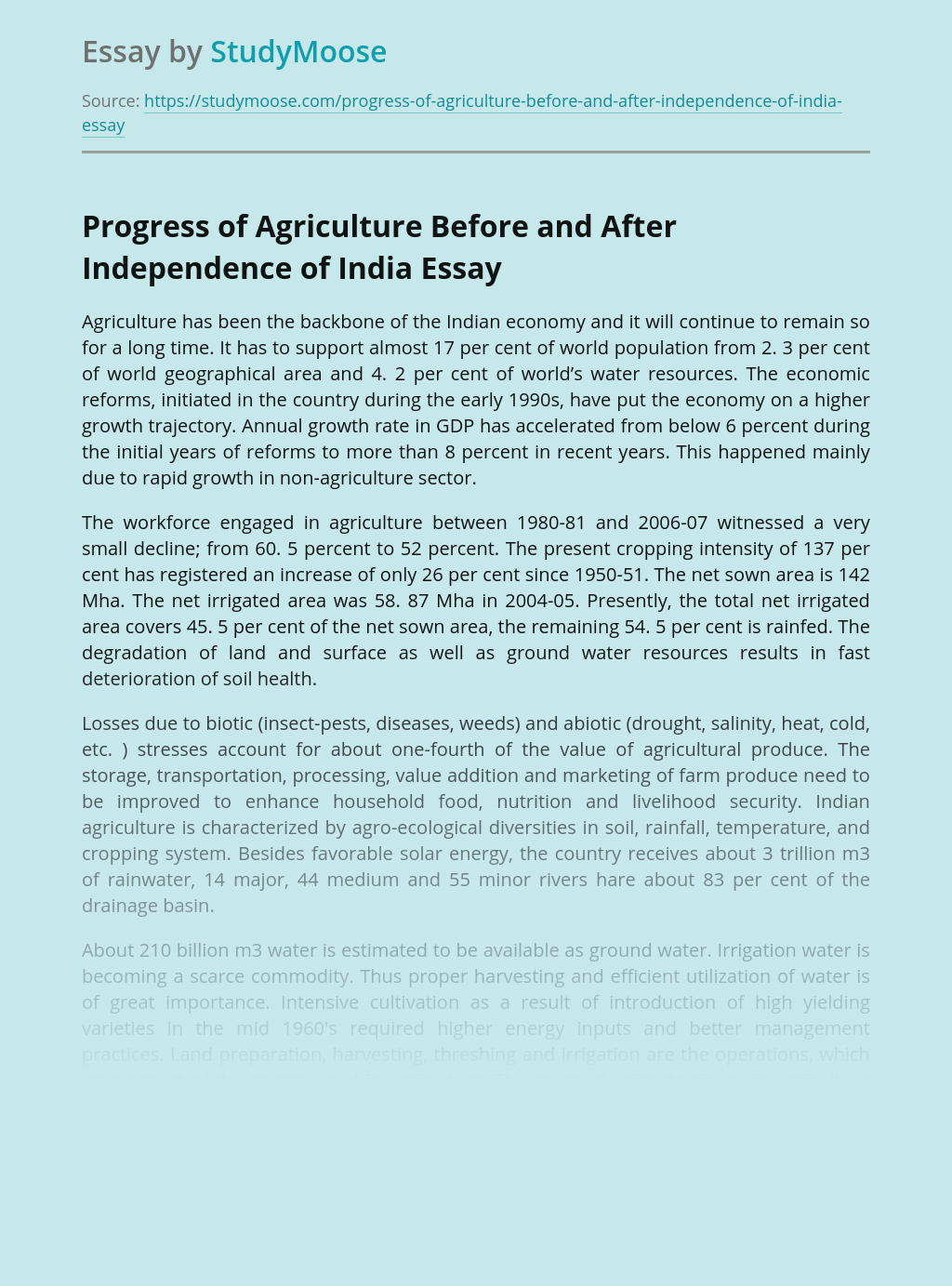 Progress of Agriculture Before and After Independence of India