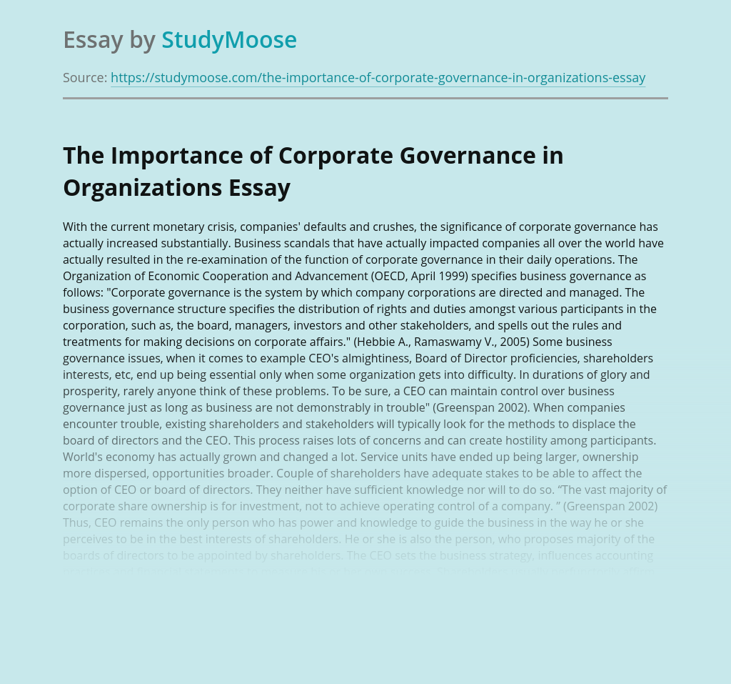 The Importance of Corporate Governance in Organizations