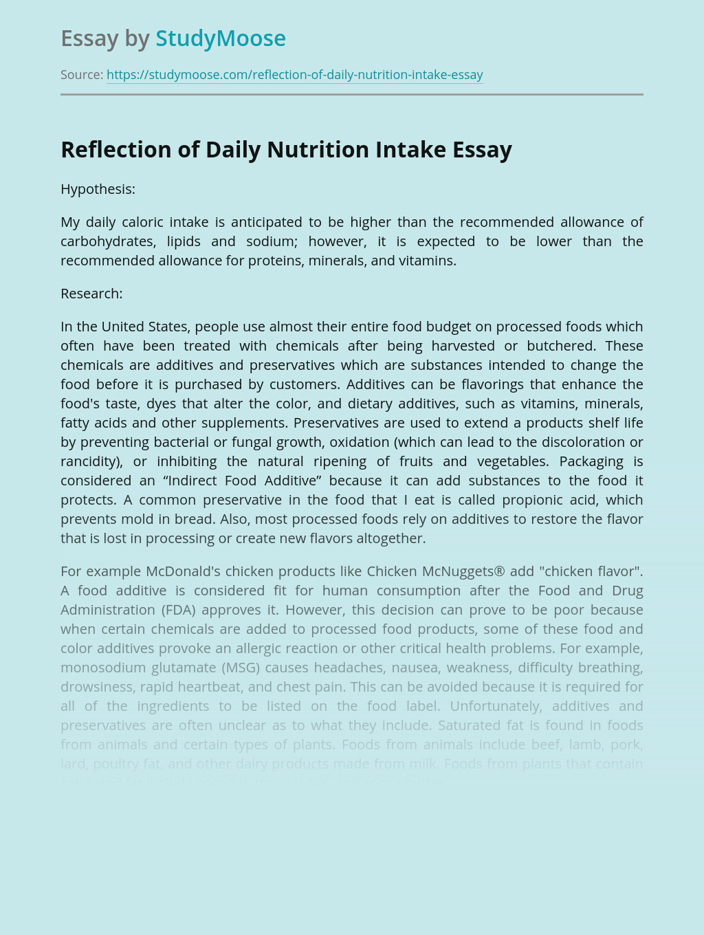 Reflection of Daily Nutrition Intake