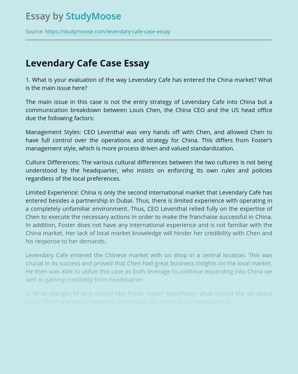 Levendary Cafe Entered the China Market
