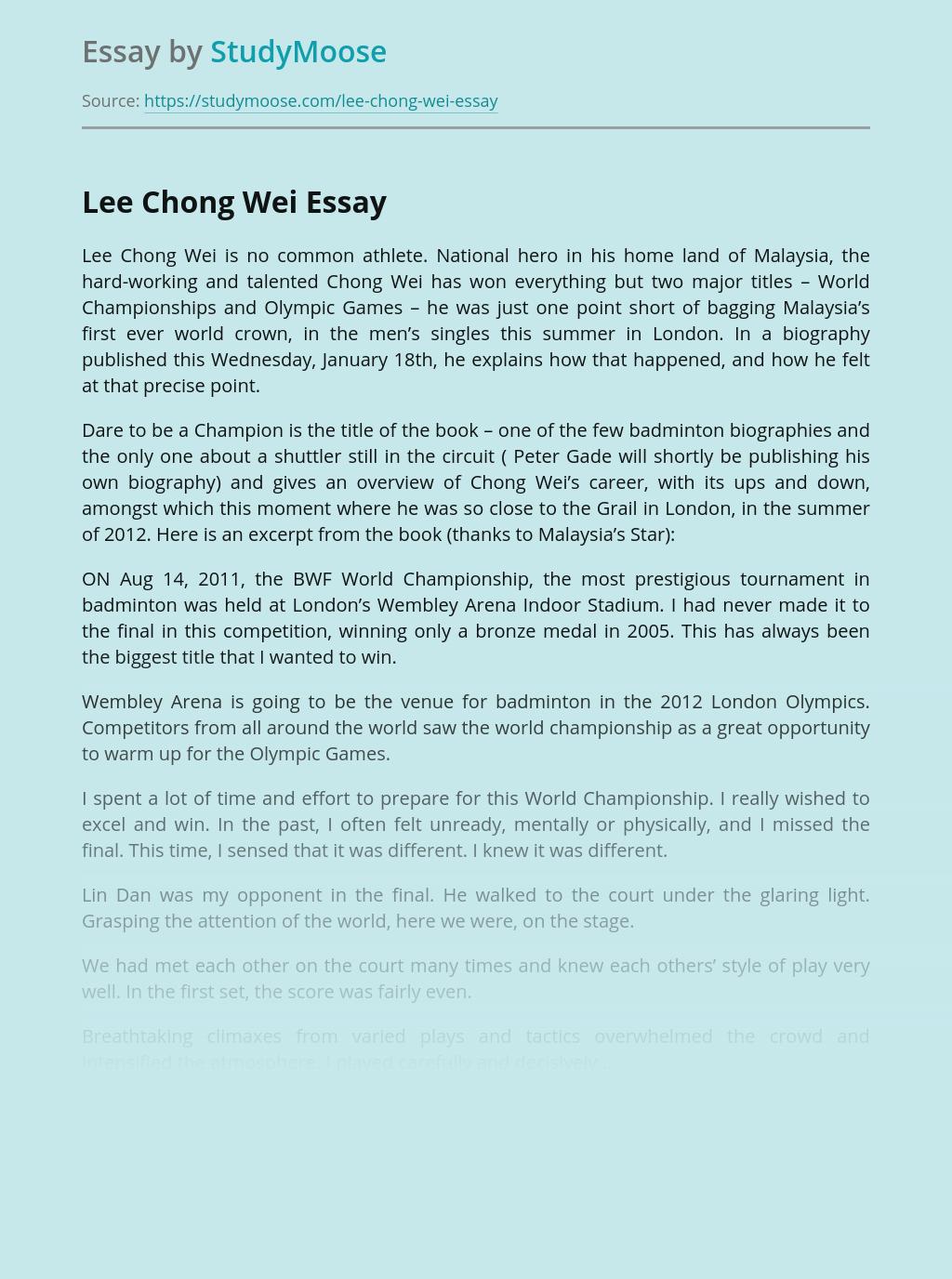 Malaysian badminton player Lee Chong Wei