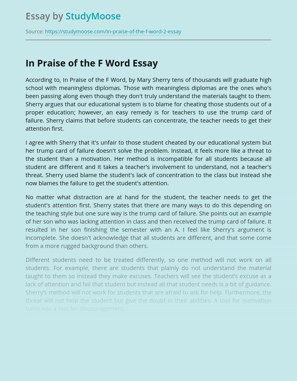 In Praise Of The F Word by Mary Sherry