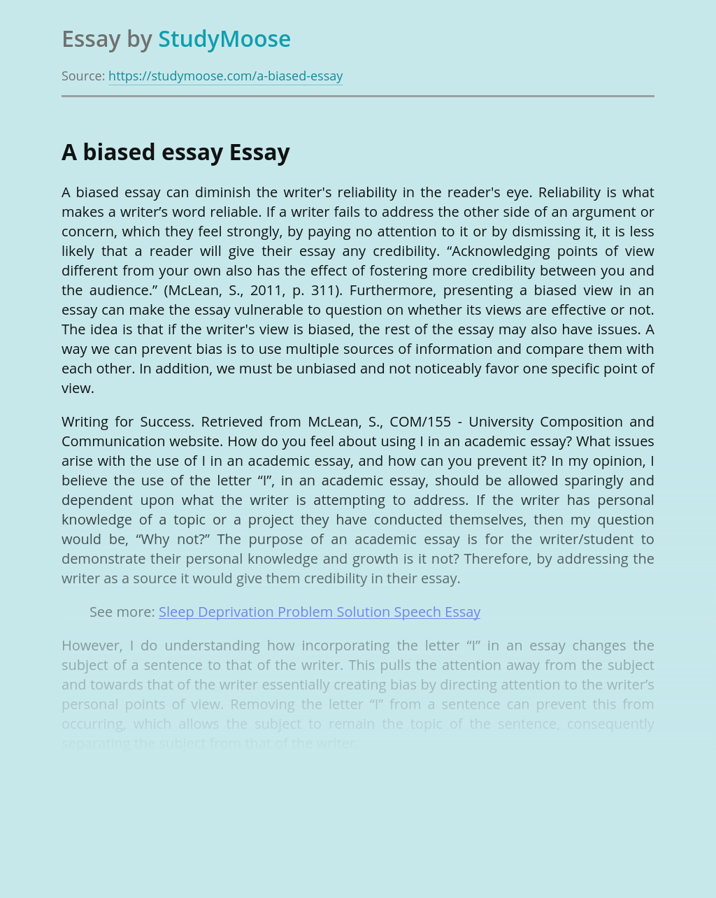 A biased essay