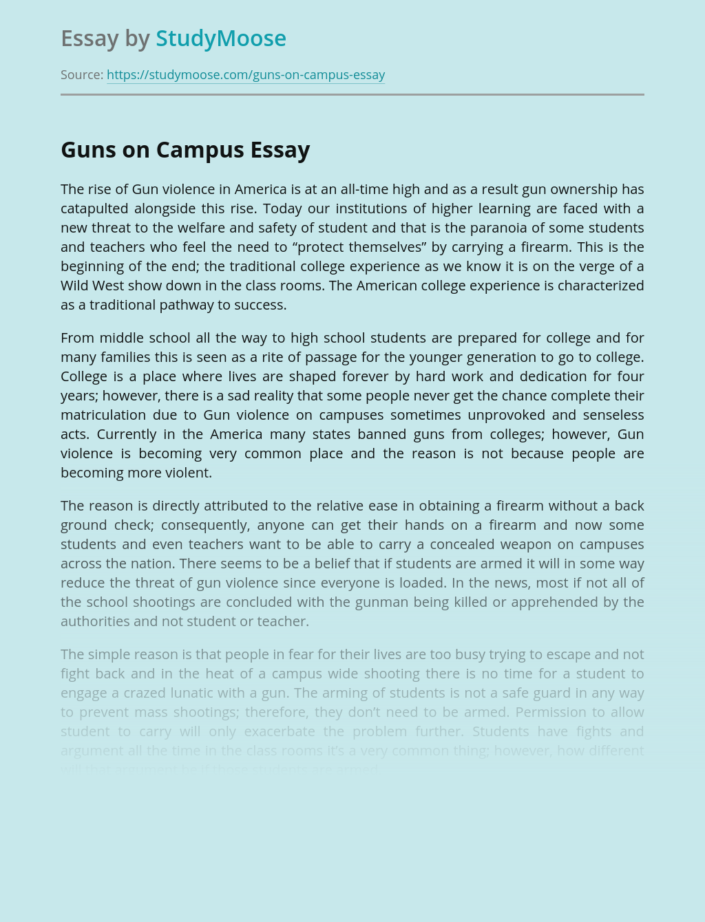 Violence and Guns on Campus