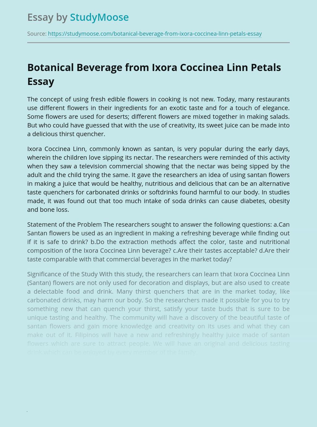 Preparation Ixora Coccinea Linn Flowers for Beverage