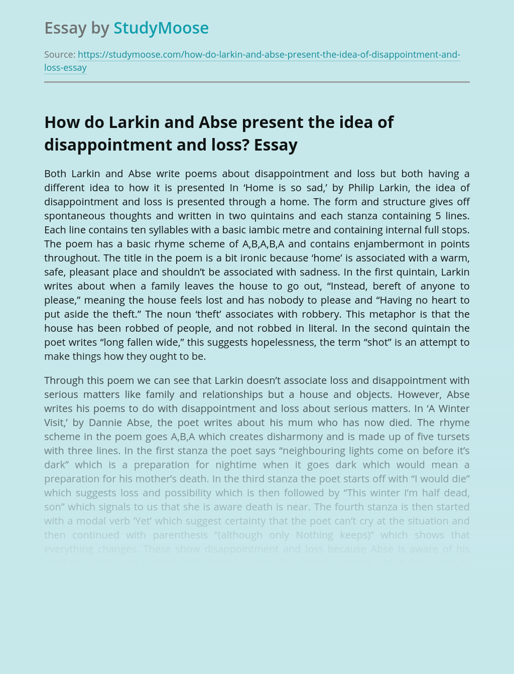 How do Larkin and Abse present the idea of disappointment and loss?