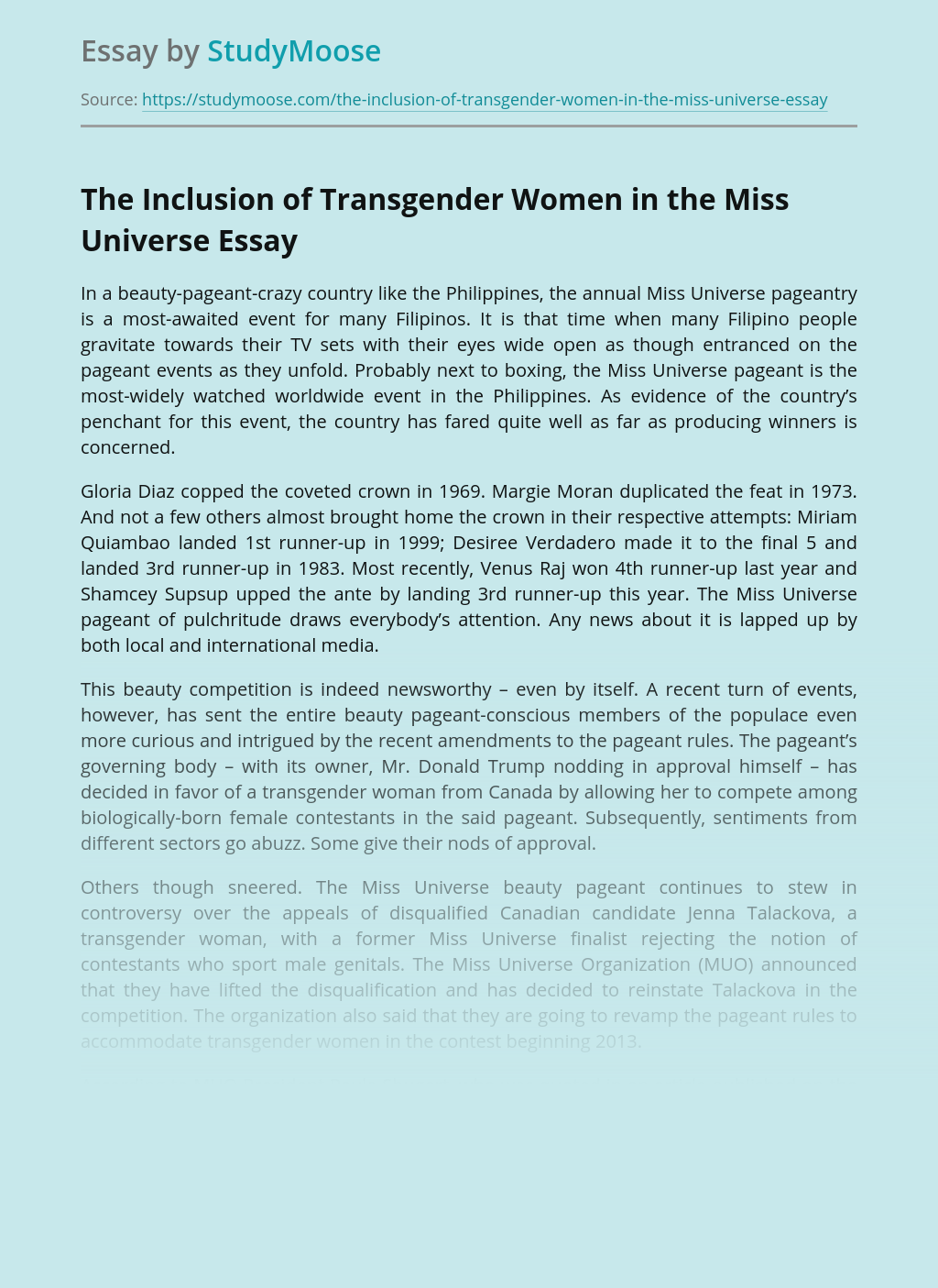 The Inclusion of Transgender Women in the Miss Universe