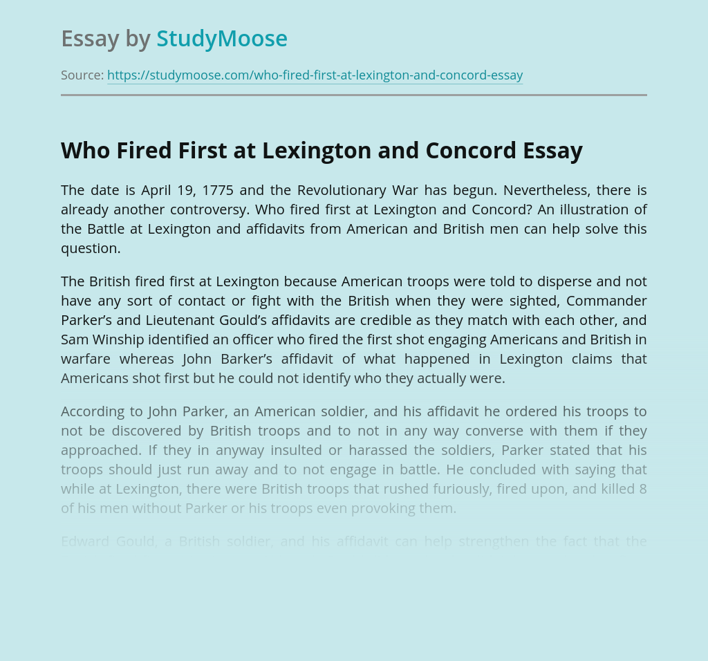 Who Fired First at Lexington and Concord?