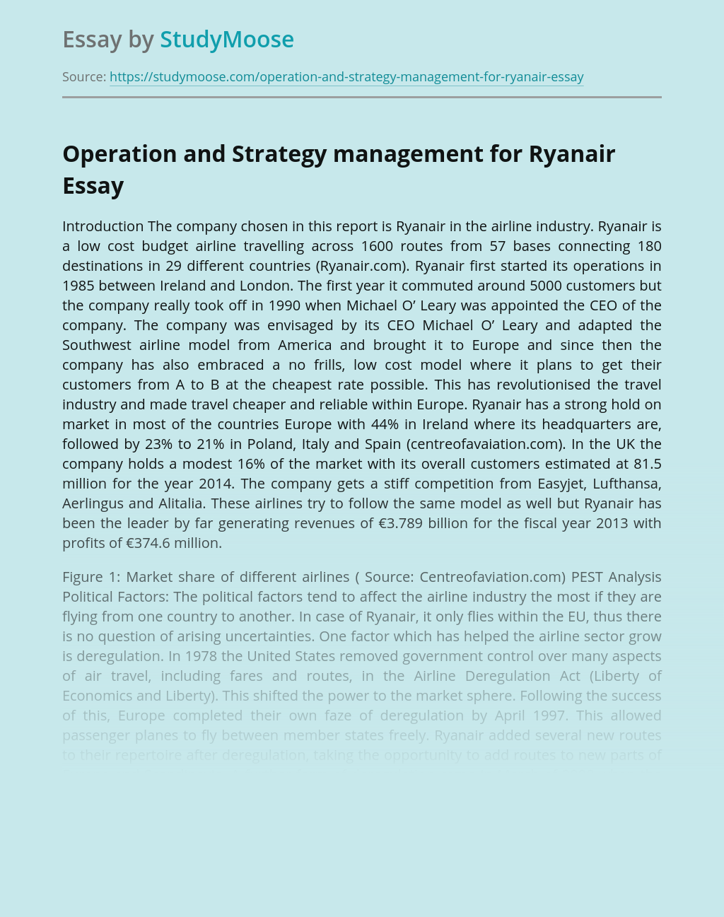 Operation and Strategy management for Ryanair