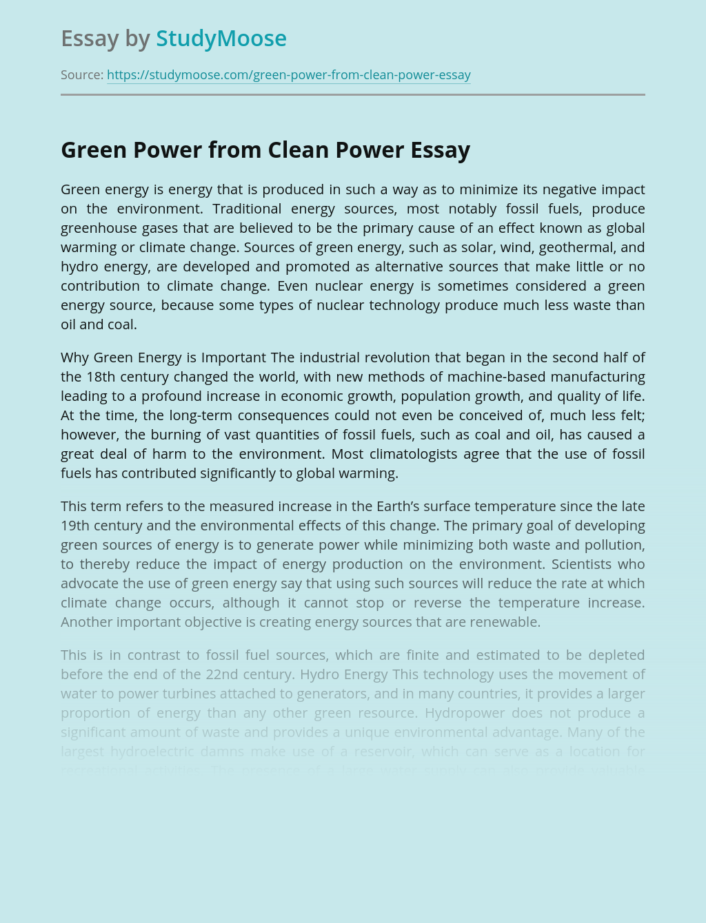 Green Power from Clean Power