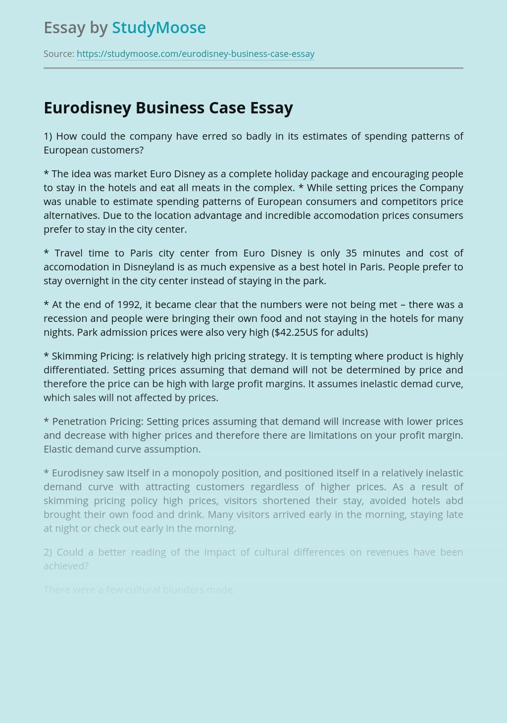 Eurodisney Business Case