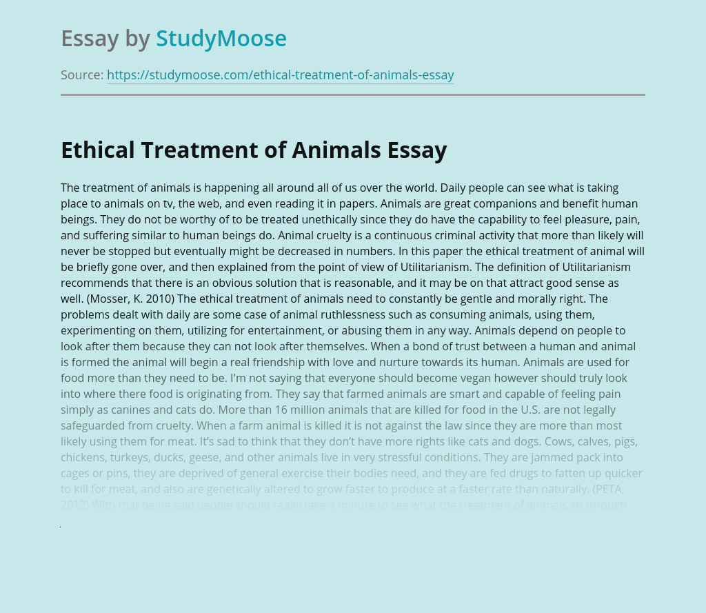Ethical Treatment of Animals