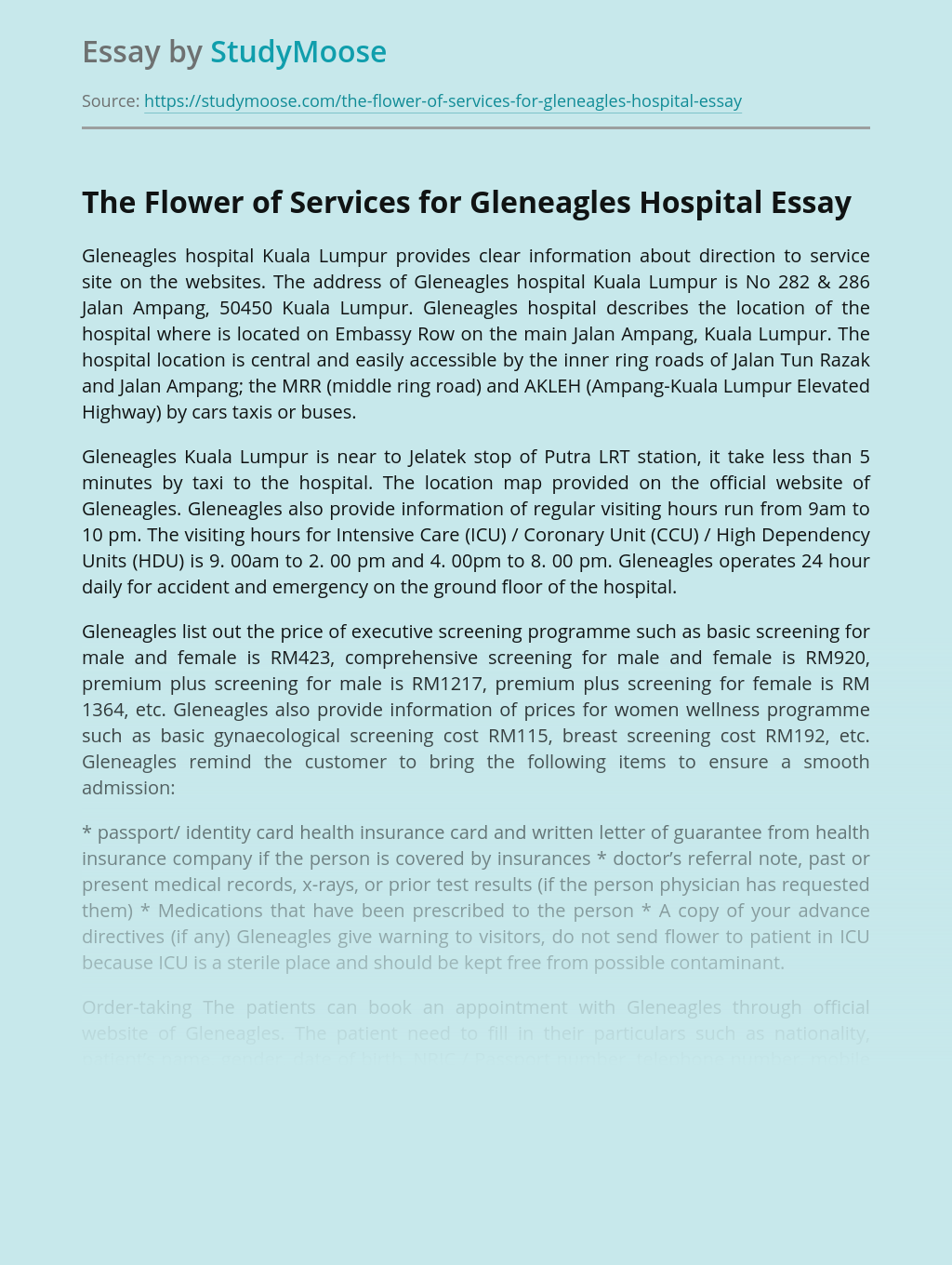 The Flower of Services for Gleneagles Hospital