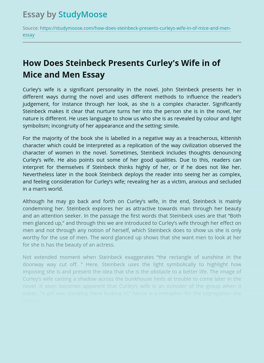 How Does Steinbeck Presents Curley's Wife in of Mice and Men
