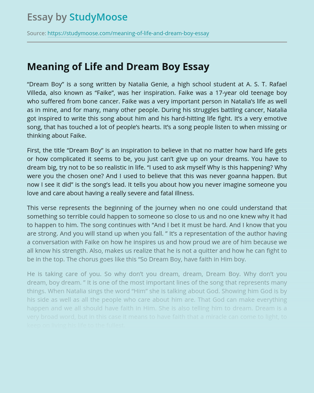 Meaning of Life and Dream Boy