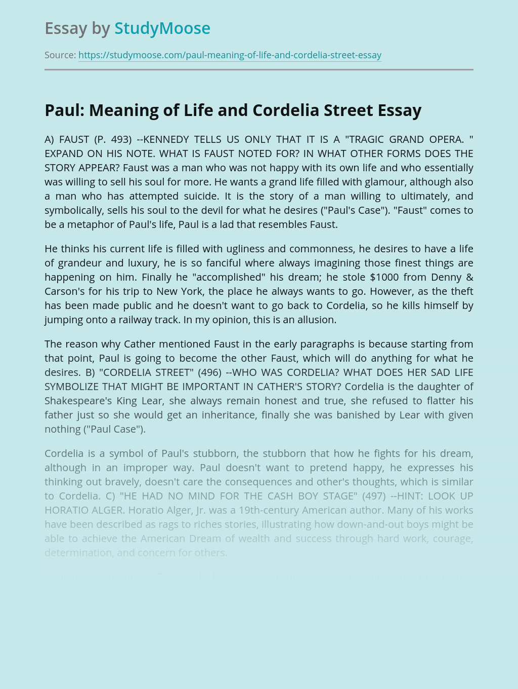 Paul: Meaning of Life and Cordelia Street