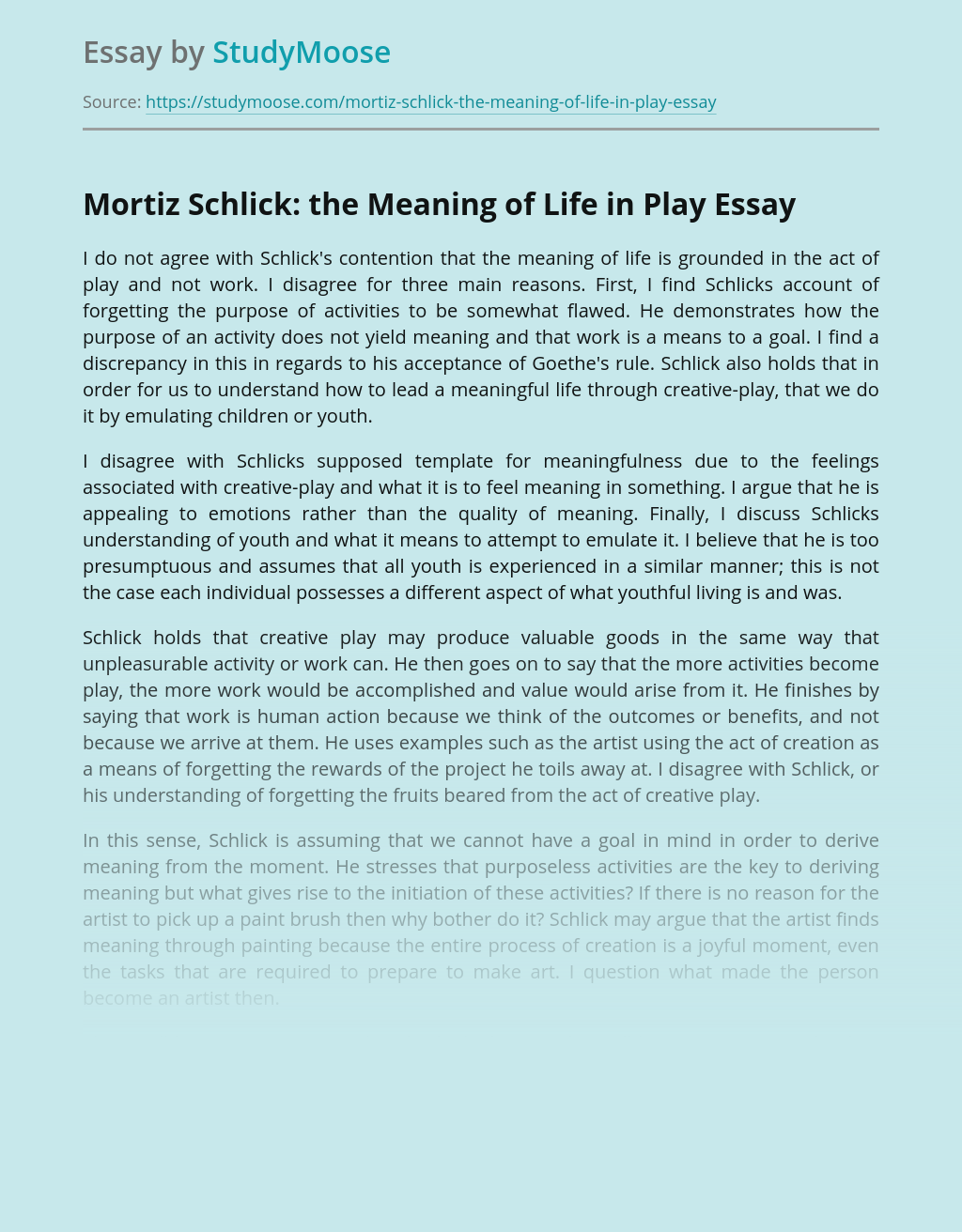 Mortiz Schlick: the Meaning of Life in Play