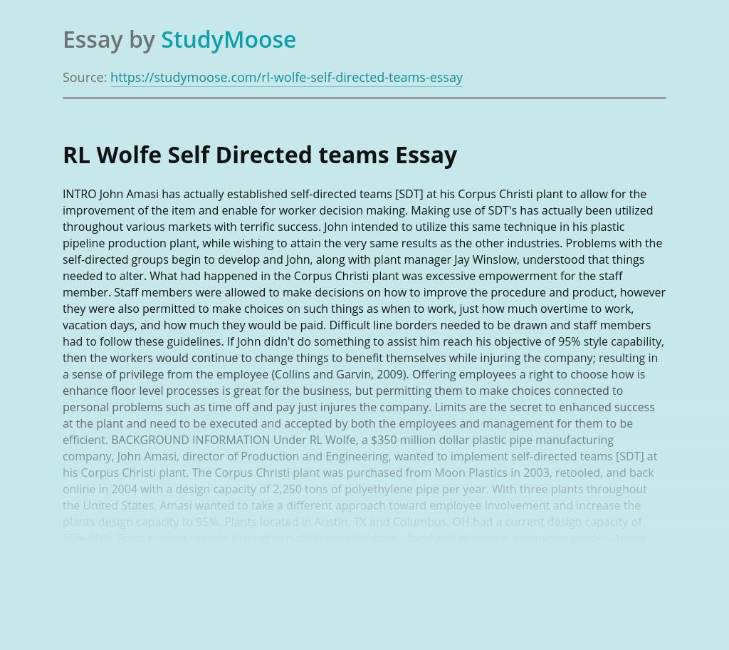 RL Wolfe Self Directed teams