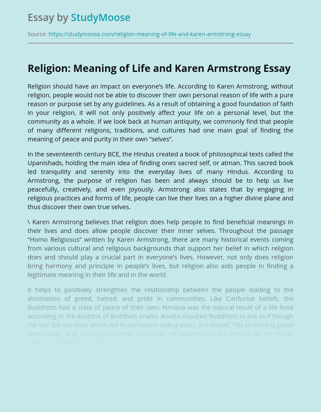 Religion: Meaning of Life and Karen Armstrong