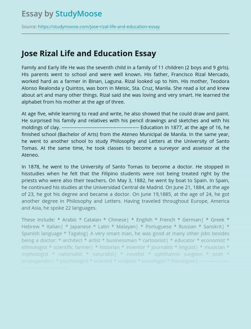 Jose Rizal Life and Education