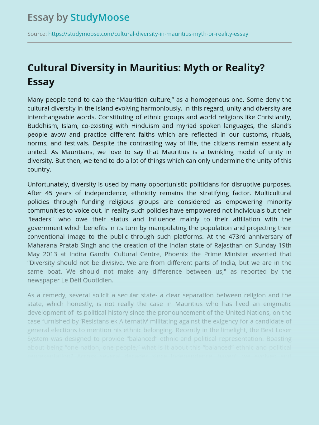 Cultural Diversity in Mauritius: Myth or Reality?