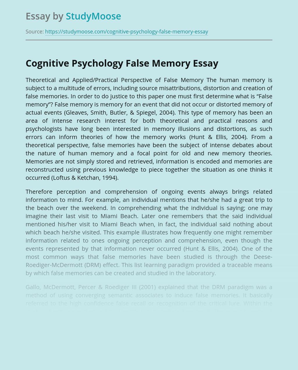 Cognitive Psychology False Memory